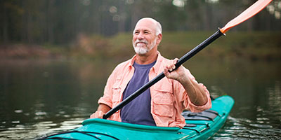 middle-aged man kayaking