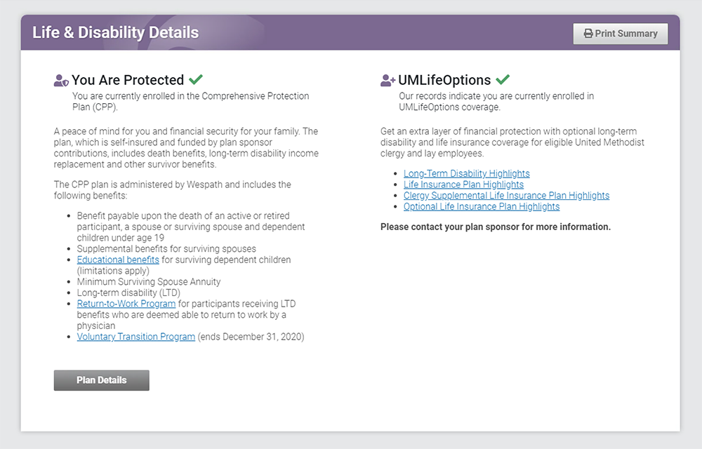Benefits Access life and disability screenshot image