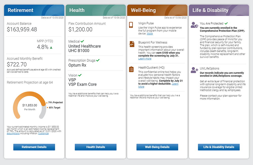 Benefits Access summary page image