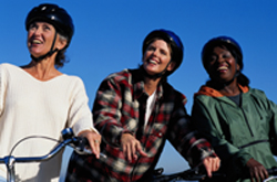 three friends on bikes