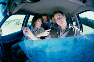 family arguing in a car photograph